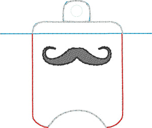 Moustache Hand Sanitizer Holder Eyelet Version In the Hoop Embroidery Project 1 oz BBW for 4x4 hoops