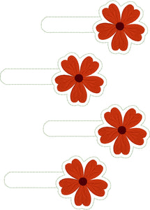 Geranium snap tab embroidery design