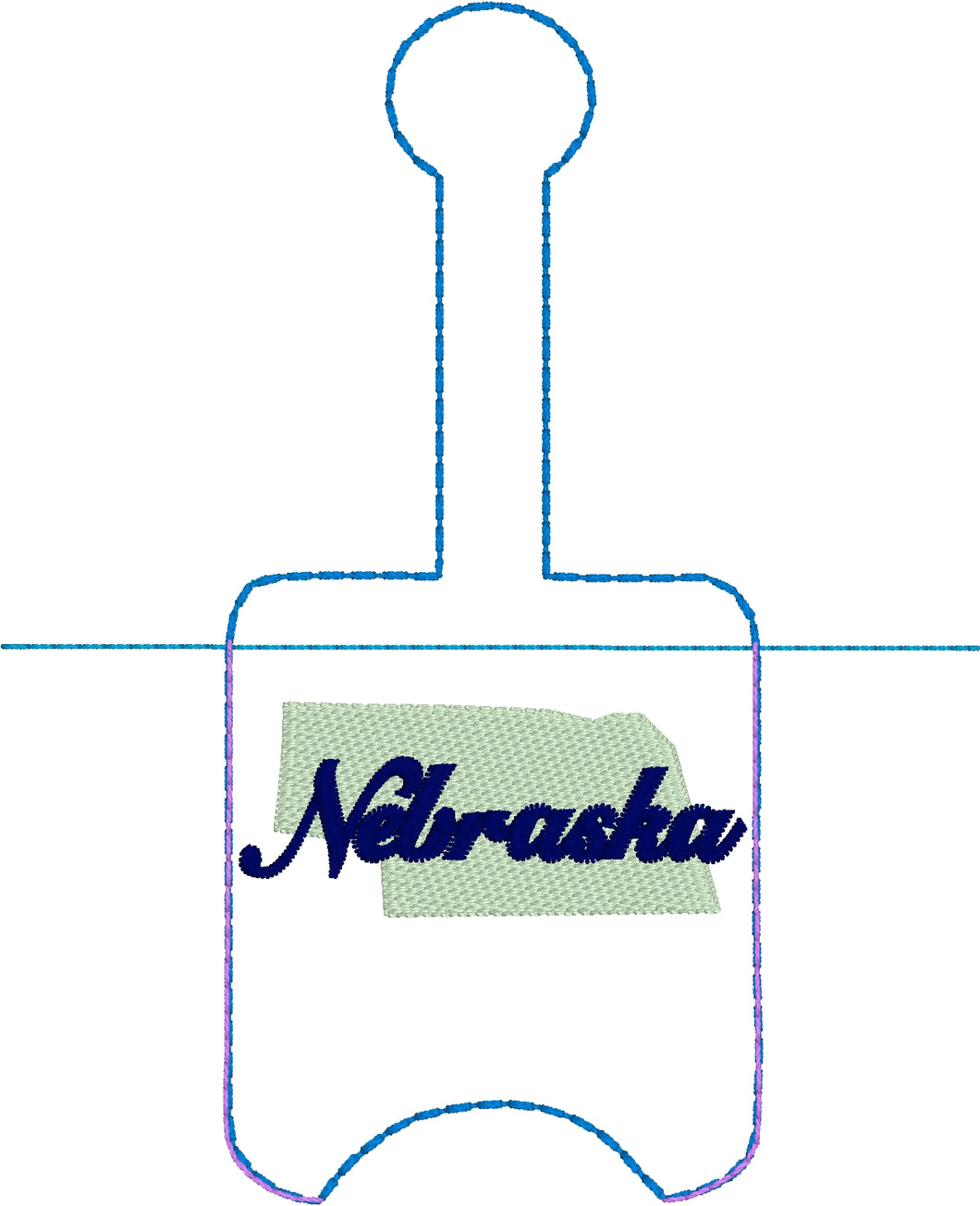 Nebraska Hand Sanitizer Holder Snap Tab Version In the Hoop Embroidery Project 1 oz BBW for 5x7 hoops