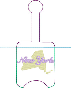 New York Hand Sanitizer Holder Snap Tab Version In the Hoop Embroidery Project 1 oz BBW for 5x7 hoops