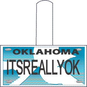 Oklahoma Plate Embroidery Snap Tab
