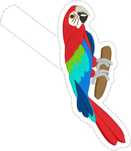 Parrot snap tab In the Hoop embroidery design