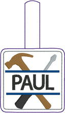 Hammer and Screwdriver snap tab Personalized Bag Tag for 4x4 hoops