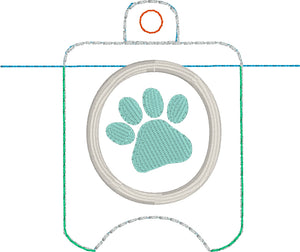 Paw Print Hand Sanitizer Holder Eyelet Version In the Hoop Embroidery Project 1 oz BBW for 4x4 hoops