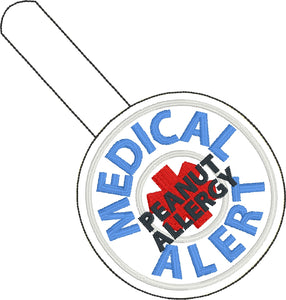 Medical Alert Peanut Allergy snap tab embroidery design
