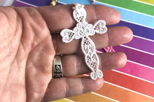 Heart Cross Freestanding Lace Bookmark for 4x4 hoops