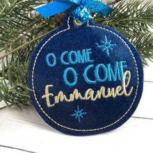 O Come Emmanuel Christmas Ornament for 4x4 hoops