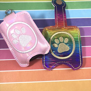 Paw Print Hand Sanitizer Holder Case BUNDLE SET Snap Tab and Eyelet Versions for 1 and 2 ounce sizes