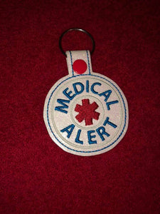 Medical Alert BLANK snap tab embroidery design