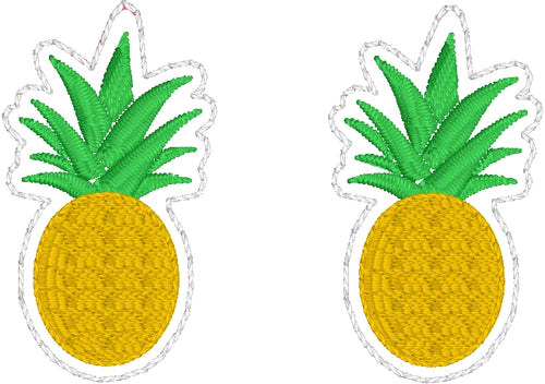 Pineapple Earrings embroidery design for Vinyl and Leather