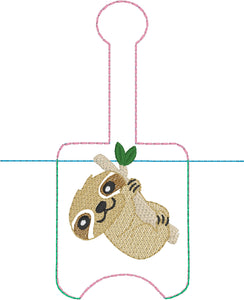 Sloth Hand Sanitizer Holder Snap Tab Version In the Hoop Embroidery Project 1 oz BBW for 5x7 hoops