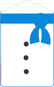 Snowman Gift Card Holder In The Hoop (ITH) Embroidery Design