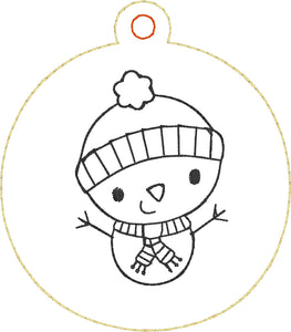 Snowman Redwork Christmas Ornament for 4x4 hoops