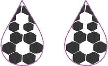 Soccer STITCHING Teardrop Earrings embroidery design