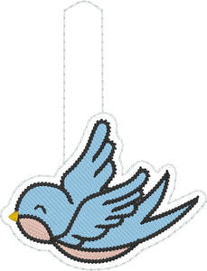 Bluebird of Happiness snap tab In the Hoop embroidery design