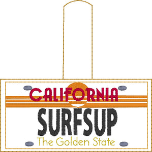California VINTAGE Plate Embroidery Snap Tab