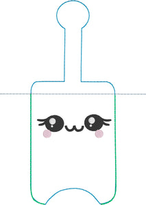 NEW SIZE Sweet Happy Face Hand Sanitizer Holder Snap Tab Version In the Hoop Embroidery Project 3 oz DT for 5x7 hoops