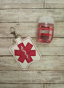 Star of Life Hand Sanitizer Holder Snap Tab Version In the Hoop Embroidery Project 1 oz BBW for 5x7 hoops