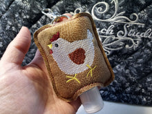 Chicken Hand Sanitizer Holder for 2 oz Bottles Snap Tab In the Hoop Embroidery Project