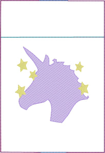 Unicorn and Stars Pen Pocket In The Hoop (ITH) Embroidery Design