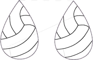 Volleyball STITCHING Teardrop Earrings embroidery design