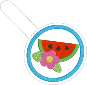 Watermelon Floral snap tab -4x4 -Backpack tag embroidery design-ITH key fob tag