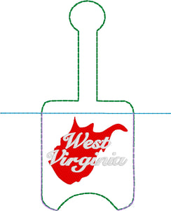 West Virginia Hand Sanitizer Holder Snap Tab Version In the Hoop Embroidery Project 1 oz BBW for 5x7 hoops