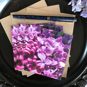Set of Three Deluxe Notecards - Lilac Closeup