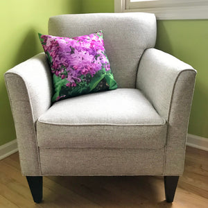 chair with lilac printed pillow