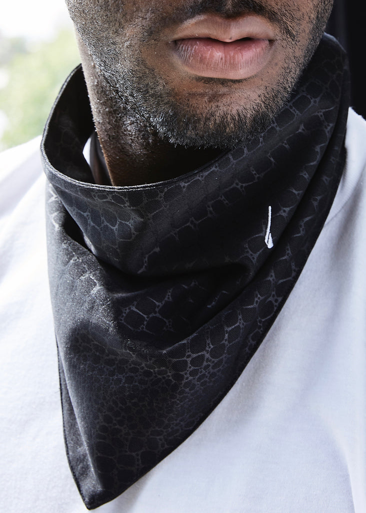 calinY Black Reptile Kerchief worn around neck