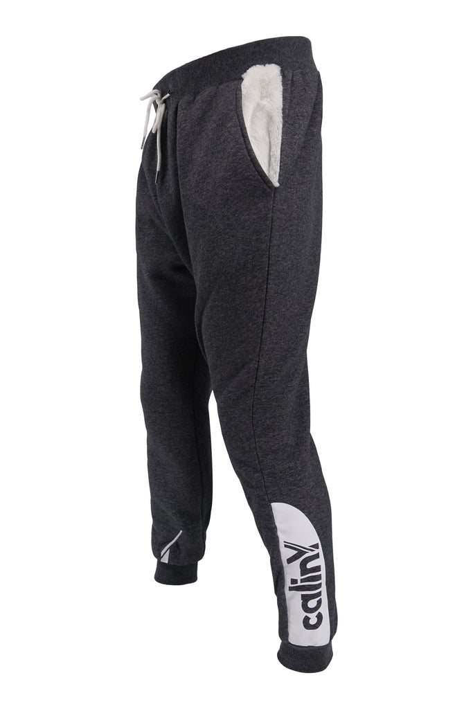 calinY heather grey/white faux fur sweatpants