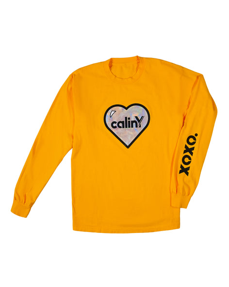 hearts long sleeve tee - gold.