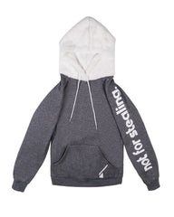 NFS faux fur hoodie - heather grey/white.