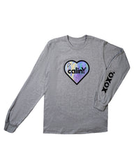 hearts long sleeve tee - heather grey.