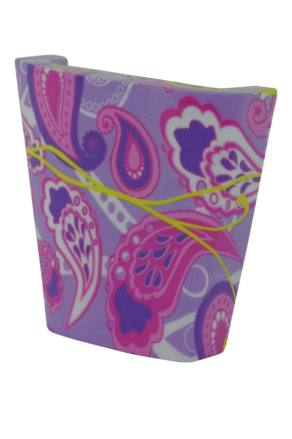 calinY Cpiece purple pink and yellow paisley