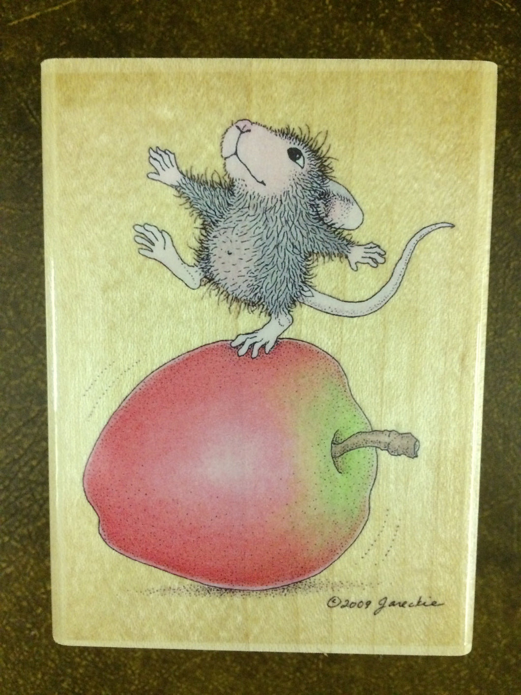 House Mouse Rubber Stamp - Bobbing on Apples