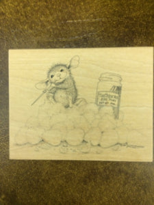 House Mouse Rubber Stamp - Pickin' and a Grinnin'