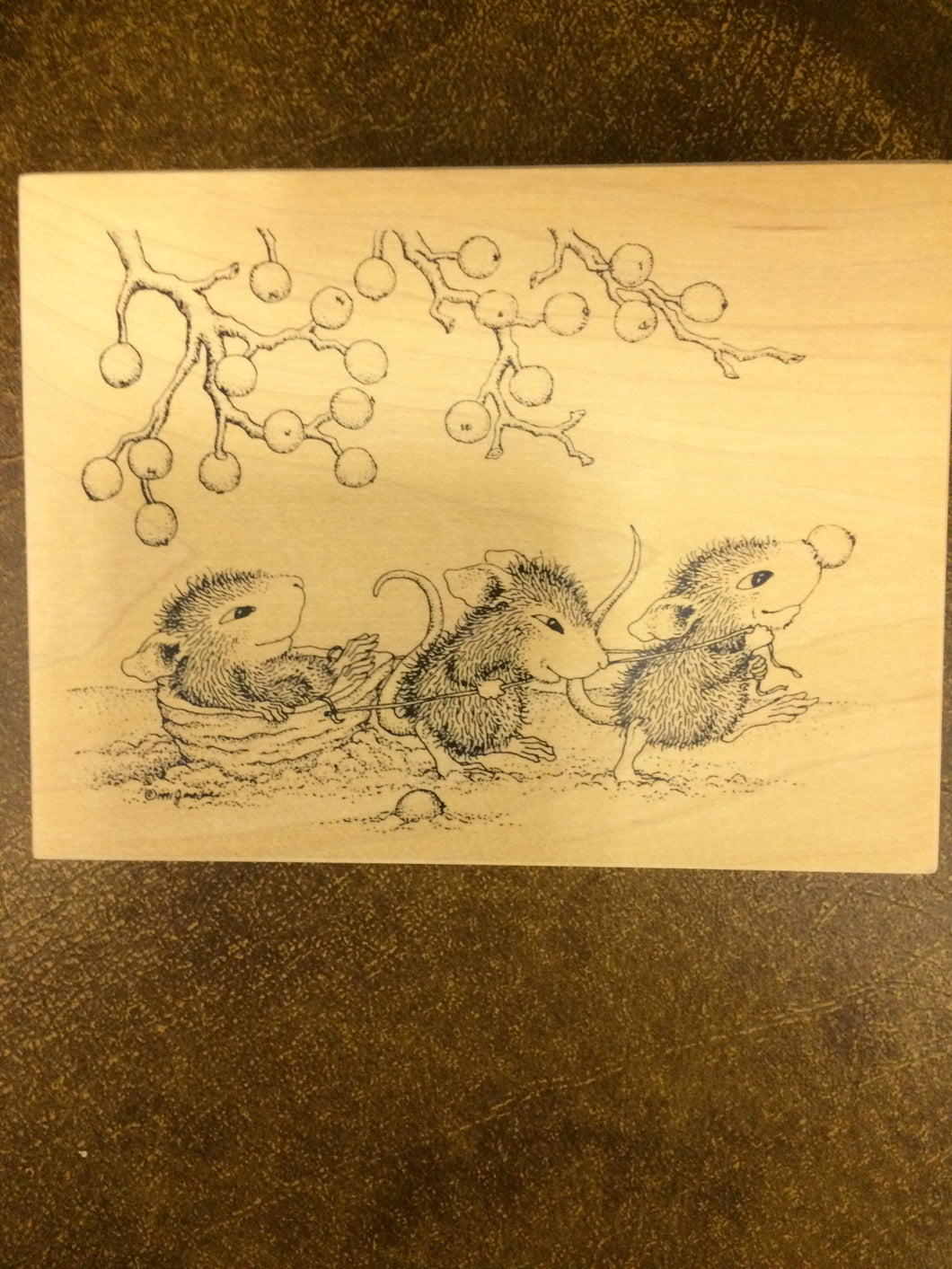 House Mouse Rubber Stamp - Pulling a Walnut Sleigh