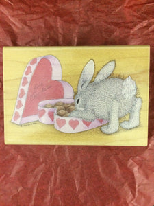House Mouse Rubber Stamp - Hoppy Valentine's