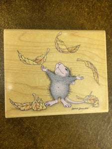 House Mouse Rubber Stamp - Turning over a New Leaf