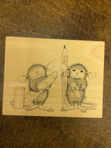 House Mouse Rubber Stamp - Eye Pencil & Lipstick Ready