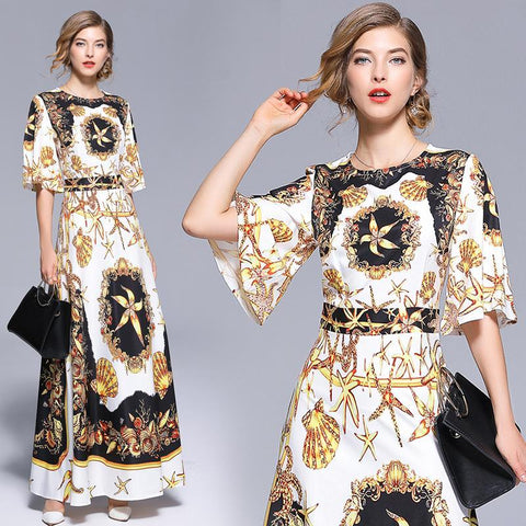 Kalani Boutique 2018 Summer Floral Print Boho Beach Long Dress Tunic Maxi Vestidos Women Evening Party Dresses Sundress Dropshipping