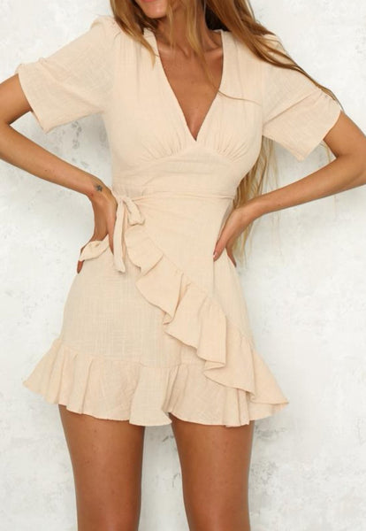 Kalani Boutique Dress Beige / S KARLIE Ruffle Wrap Dress - Beige