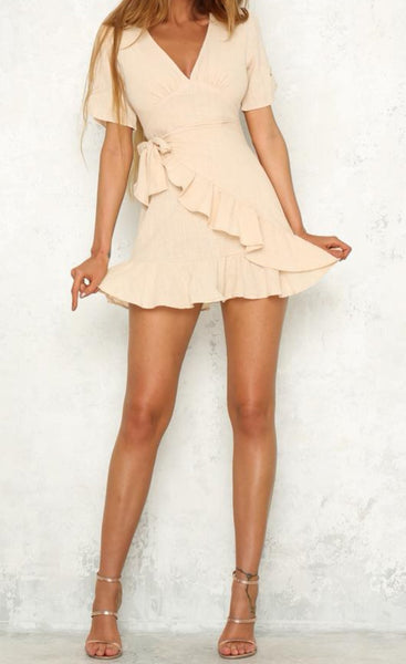 Kalani Boutique Dress KARLIE Ruffle Wrap Dress - Beige