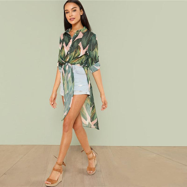 Kalani Boutique Jacket Boho Tropical Print Button Women Long Shirts Fashion Beach Vacation Rolled Up Long  Sleeve Knot Asymmetrical Hem Blouses