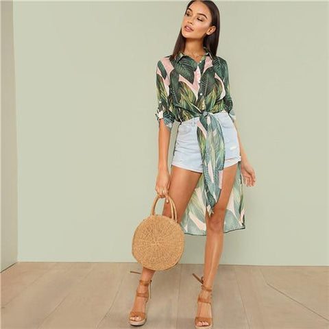 Kalani Boutique Jacket Multi / XS Boho Tropical Print Button Women Long Shirts Fashion Beach Vacation Rolled Up Long  Sleeve Knot Asymmetrical Hem Blouses