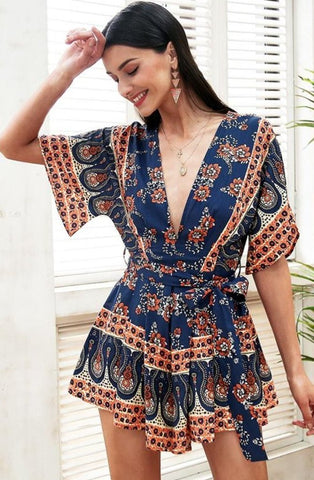 Kalani Boutique Playsuit Blue print / S VALLEY Playsuit