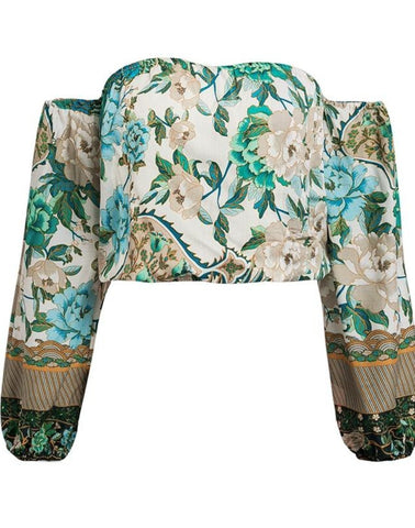 Kalani Boutique Tops Peacock Print / S PEACOCK Crop Top