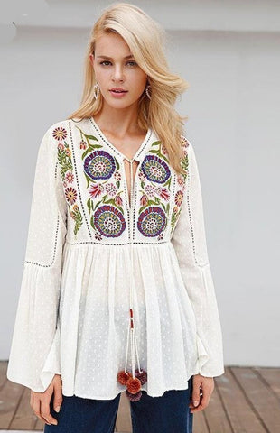 Kalani Boutique Tops White / S MANDALA Blouse