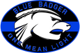 Blue Badger Lights One Mean Light Logo
